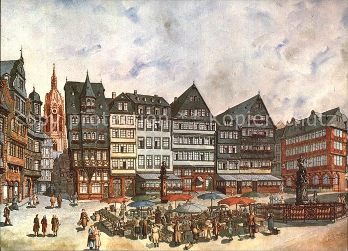 Frankfurt Main Roemerberg mit Gerechtigkeitsbrunnen und Dom Kat. Frankfurt am Main