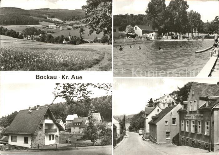 Bockau Erzgebirgskreis Panorama Schwimmbad Dorfpartie Kat. Bockau