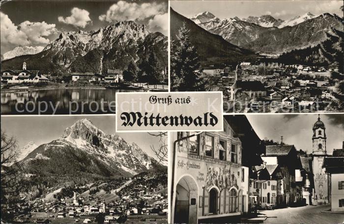 Mittenwald Bayern Gesamtansicht mit Alpenpanorama Strassenpartie Kirche Cafe Konditorei Kat. Mittenwald