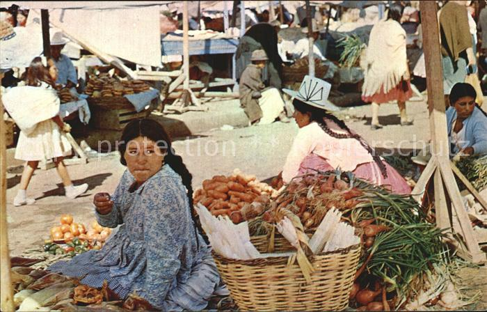Cochabamba Frauen auf dem Markt Kat. Cochabamba