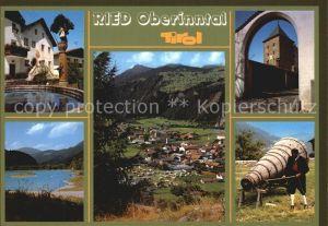Ried Oberinntal Brunnen See Teilansicht Trachtentraeger Kat. Ried im Oberinntal