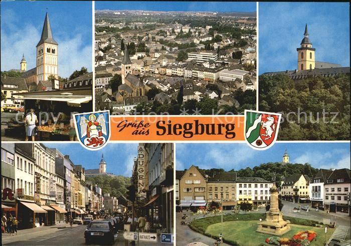ak siegburg ortspanorama mit burg nr 6221264 oldthing ansichtskarten deutschland plz 50. Black Bedroom Furniture Sets. Home Design Ideas