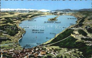 Biel Bienne Panoramakarte vom Bieler See Kat. Biel