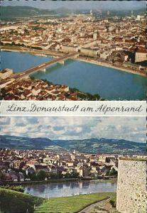 Linz Donau Fliegeraufnahme mit Donau Kat. Linz