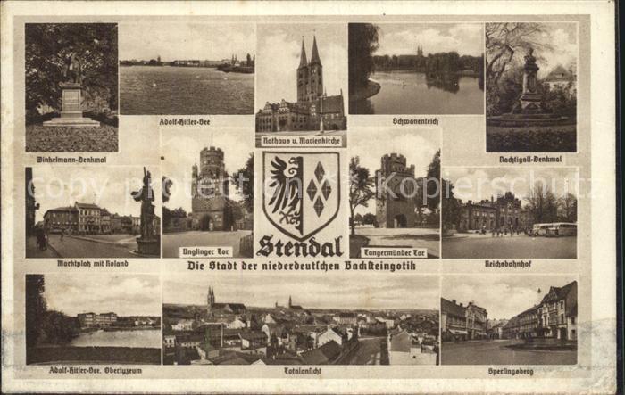 Stendal Reichsbahnhof Marktplatz Roland Rathaus Kat. Stendal
