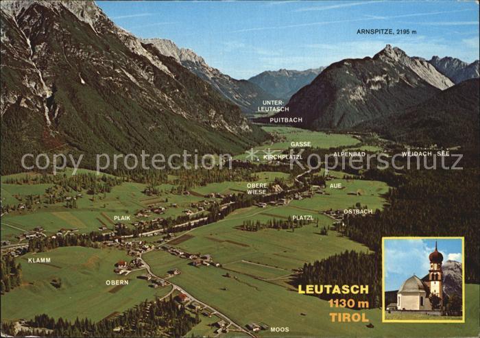 Leutasch Fliegeraufnahme Richtung Nord Ost Alpenpanorama Kirche Kat. Leutasch Tirol