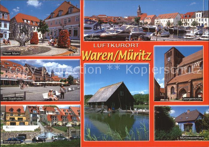 Waren Mueritz Luftkurort Neuer Markt Stadthafen Mueritzwasserhaus Georgenkirche Kat. Waren Mueritz
