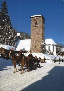 Adelboden Pferdeschlitten Kirche  Kat. Adelboden
