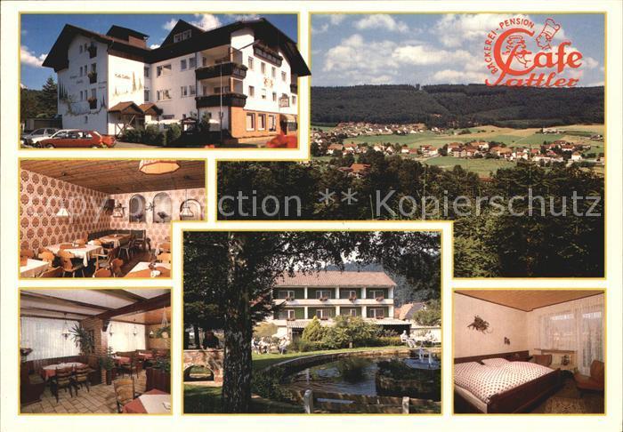 Wahlen Odenwald Cafe Sattler mit Gaestehaus Waldblick Gastraum Zimmer Park Panorama Kat. Grasellenbach