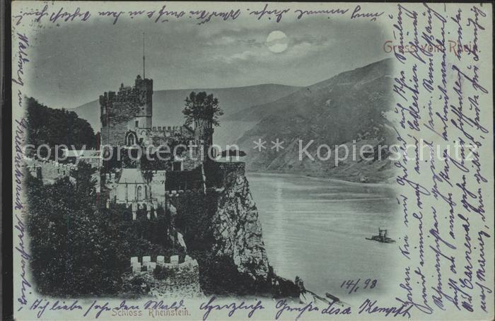 Assmannshausen Schloss Rheinstein bei Nacht Mond / Ruedesheim am Rhein /