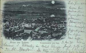 Luzern LU Ansicht Rigi Mondschein Kat. Luzern