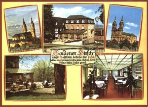 Vierzehnheiligen Gaststaette Goldener Hirsch Gastraum Garten Kirche Kat. Bad Staffelstein