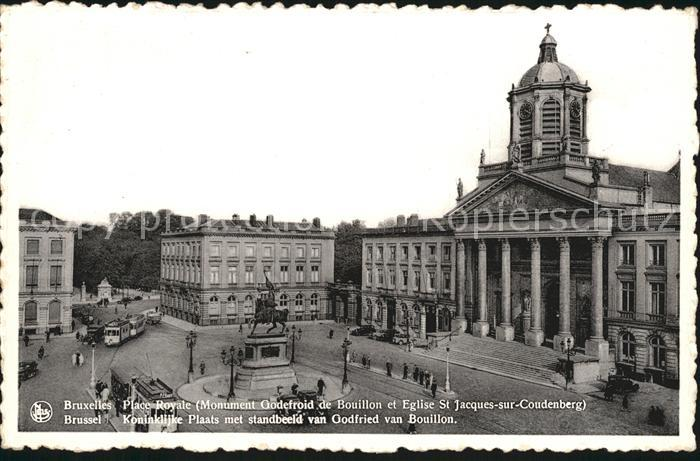 Bruxelles Bruessel Place Royale Monument Oodefroid de Bouillon Eglise St Jacques sur Coudenberg Kat.