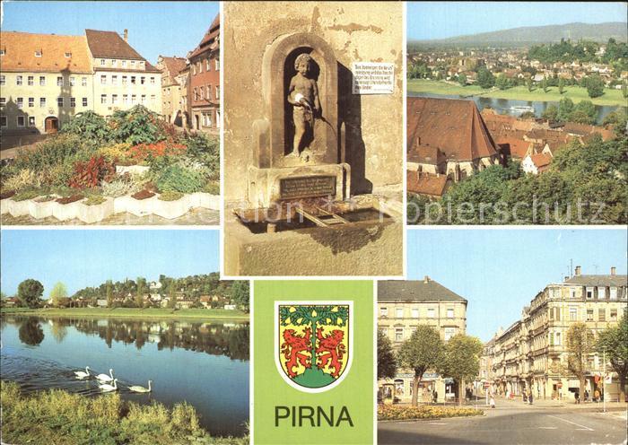 Pirna Markt Erlenpeterbrunnen Blick vom Sonnenstein Copitz Kat. Pirna