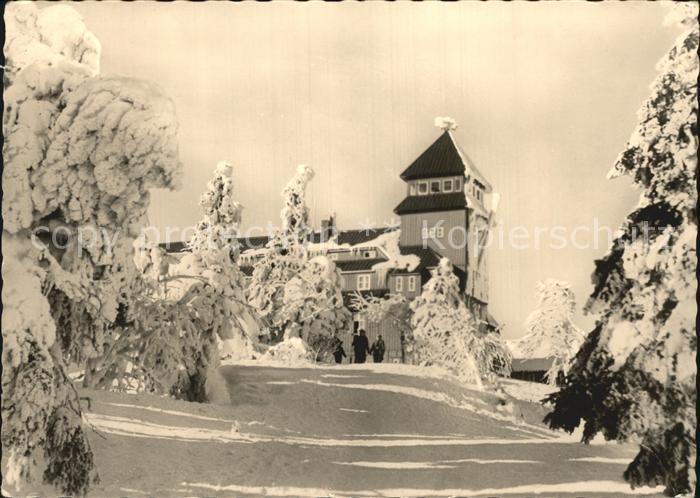 Oberwiesenthal Erzgebirge Fichtelberghaus Winterpanorama Kat. Oberwiesenthal