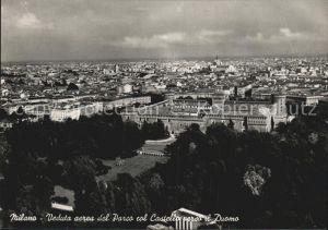 Milano Veduta aerea del Parco col Castello verso il Duomo Kat. Italien