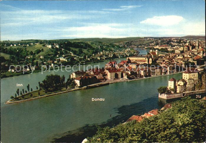 Passau Zusammenfluss Inn Donau Ilz mit Veste Oberhaus  Kat. Passau