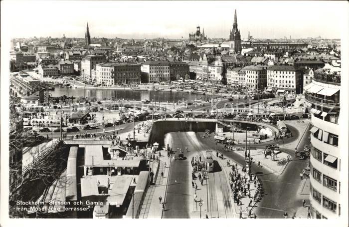 Stockholm Slussen och Gamla stan fran Mosebacke terrasser Kat. Stockholm