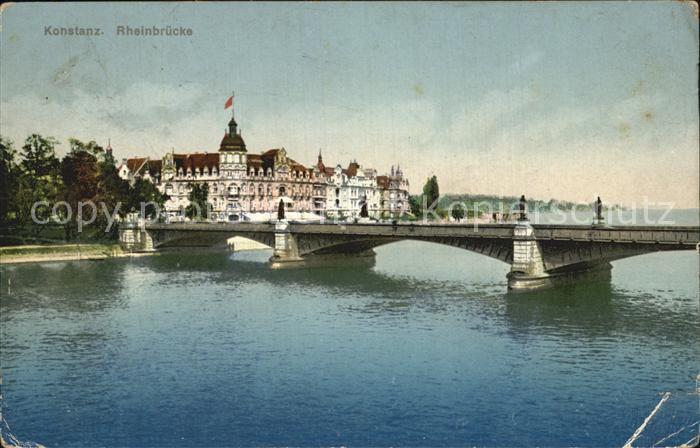 Konstanz Bodensee mit Rheinbruecke Kat. Konstanz