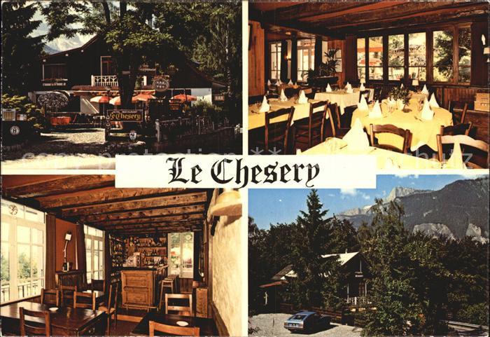 Sallanches Restaurant Hotel Bar Le Chesery Terrasse ombragee face a la chaine du Mont Blanc Cuisine gastronomique Kat. Sallanches