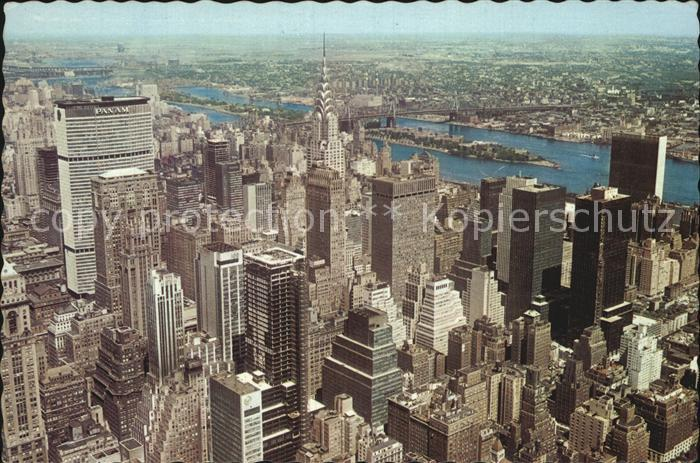 New York City Pan Am Building Chrysler Building UN East River from Empire State Building