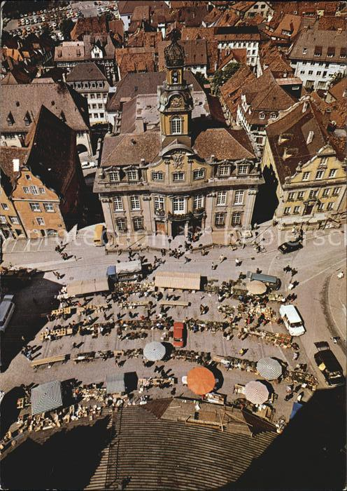 Schwaebisch Hall Blick vom Turm St Michael auf Marktplatz und Rathaus Kat. Schwaebisch Hall