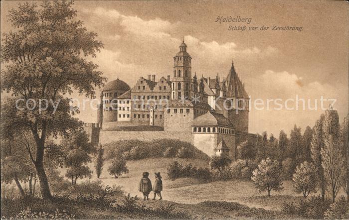 Heidelberg Neckar Schloss vor der Zerstoerung Kat. Heidelberg