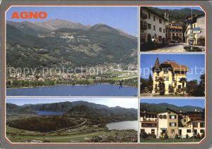 Agno Lago di Lugano Panorama Fliegeraufnahme Dorfpartien Kat. Agno