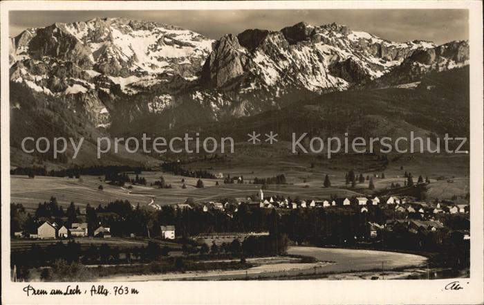 Prem Gesamtansicht mit Hochplatte Geiselstein Hoher Straussberg Alpenpanorama Kat. Prem