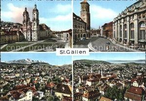 St Gallen SG Stiftskirche Innenstadt Blick ueber die Stadt Kat. St Gallen