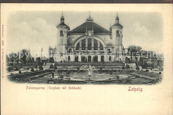 Leipzig Palmengarten Vorplatz mit Gebaeude Kat. Leipzig