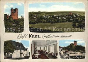 Greifenstein Hessen Burg Greifenstein Panorama Cafe Kunz Terrasse Kat. Greifenstein
