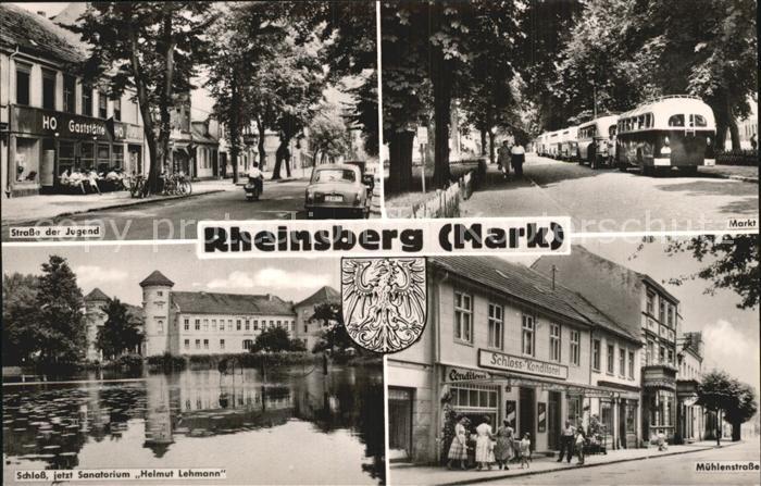 Rheinsberg Strasse der Jugend Markt Muehlenstrasse Schloss jetzt Sanatorium Helmut Lehmann Kat. Rheinsberg