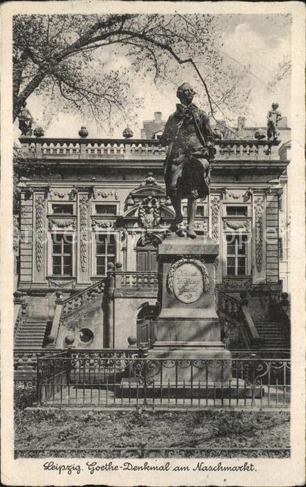 Leipzig Goethe Denkmal am Naschmarkt Bromsilber Imitation Kat. Leipzig