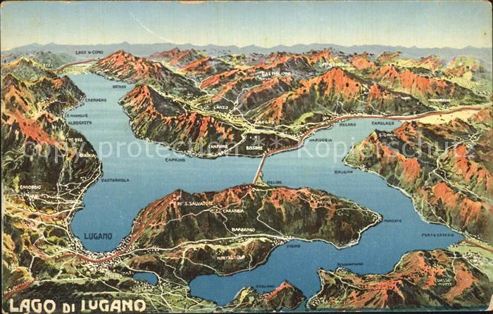 Lugano Lago di Lugano Landkarte