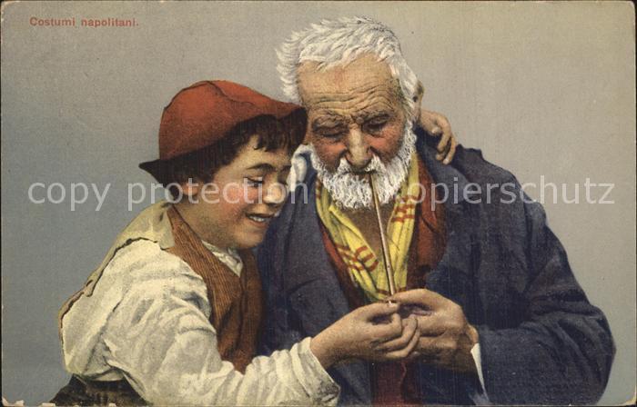 Napoli Neapel Grossvater mit Enkel Kat. Napoli