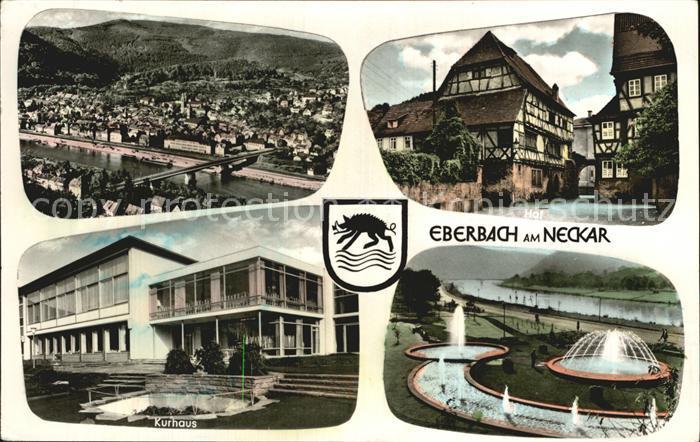 Eberbach Neckar Total Hof Kurhaus Kuranlage Wasserspiele Kat. Eberbach
