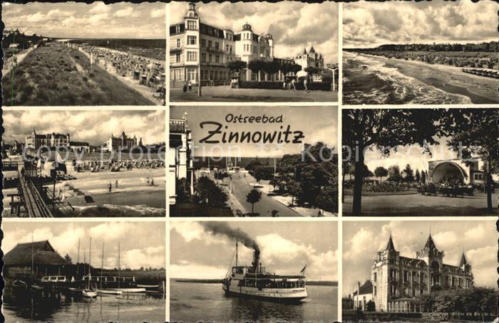 Zinnowitz Ostseebad Strand Hotels Kurpromenade Konzertpavillon Faehre