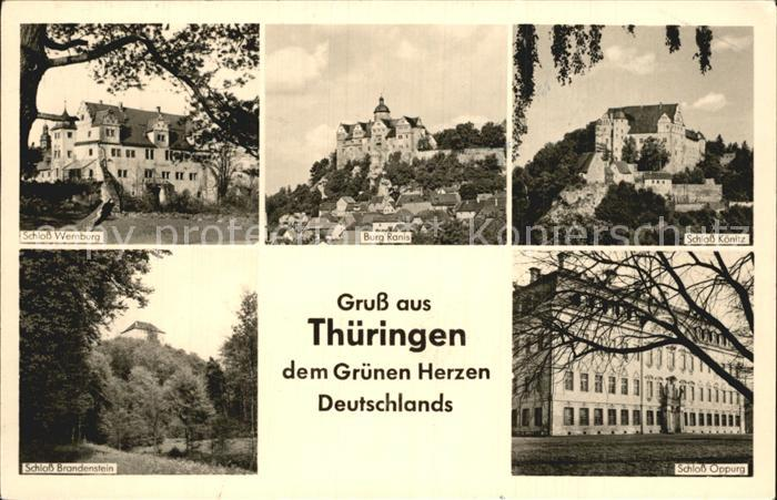 Wernburg Schloss Burg Ranis Schloss Koenitz Schloss Oppurg Schloss Brandenburg Kat. Wernburg