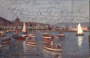 Geneve GE Hafen mit Segelschiffen Kat. Geneve