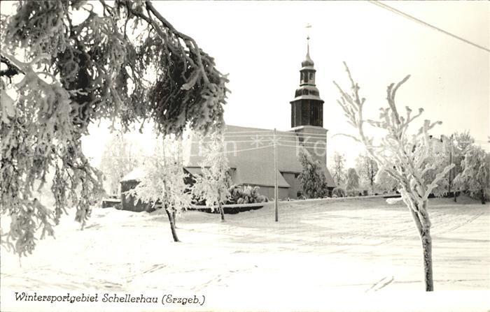 Schellerhau Kirche Wintersportgebiet im Erzgebirge Handabzug Kat. Altenberg
