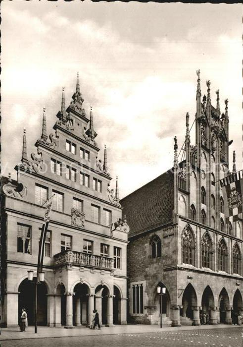 Muenster Westfalen Stadtweinhaus und Rathaus Giebel Kat. Muenster