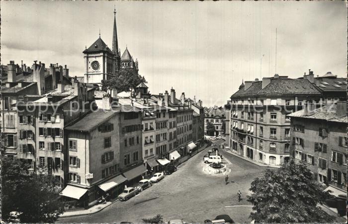 Geneve GE Place du Bourg de Four et Cathedrale de St. Pierre Kat. Geneve