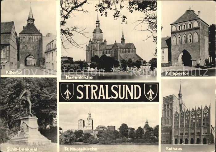 Stralsund Mecklenburg Vorpommern Kuetertor Marienkirche Kniepertor Rathaus St Nikolaikirche Schill Denkmal Kat. Stralsund