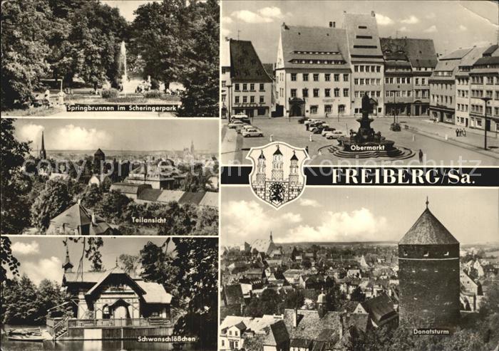 Freiberg Sachsen Springbrunnen Scheringerpark Obermarkt Teilansicht Schwanschloesschen Donatsturm Kat. Freiberg