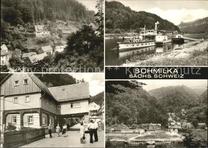 Schmilka Teilansichten Dorfstrasse Dampferanlegestelle Elbe Kat. Bad Schandau