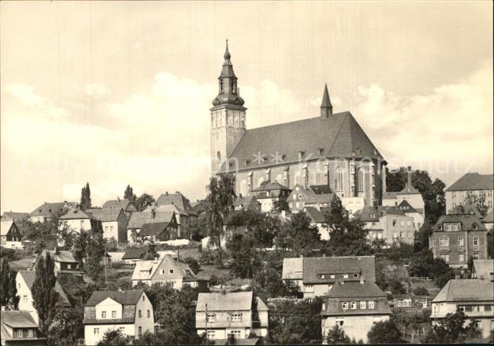Schneeberg Erzgebirge Ortsansicht mit Kirche 500 Jahre Bergstadt Kat. Schneeberg