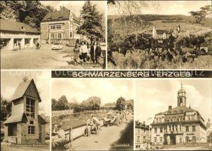Schwarzenberg Erzgebirge Bahnhofstrasse Schloss HOG haus der Einheit Schwimmbad Glockenturm am Rockelmann Kat. Schwarzenberg