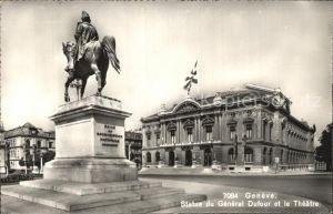 Geneve GE Statue du General Dufour et le Theatre Kat. Geneve