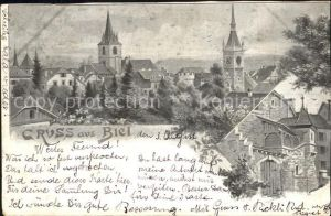Biel Bienne Ortsansicht mit Kirche Kat. Biel